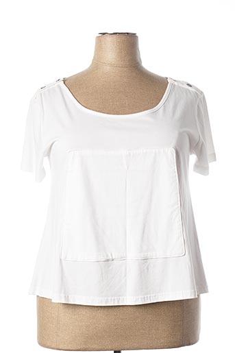 T-shirt manches courtes blanc NID D'ABEILLE pour femme