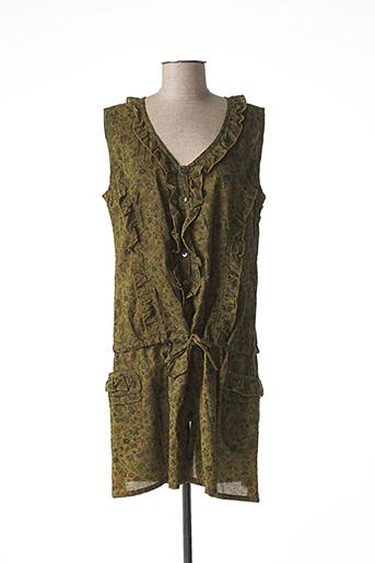 Robe courte vert NID D'ABEILLE pour femme