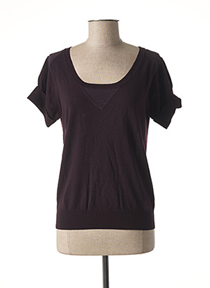 Pull col rond marron TEENFLO pour femme