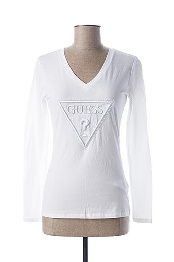 T-shirt manches longues blanc GUESS pour femme