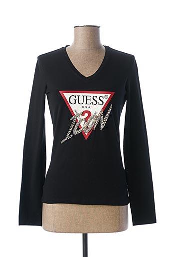 T-shirt manches longues noir GUESS pour femme