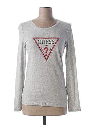 T-shirt manches longues gris GUESS pour femme