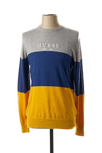 Pull col rond gris GUESS pour homme