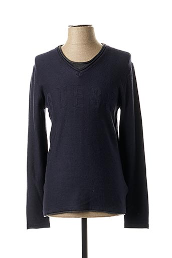 Pull col V bleu GUESS pour homme