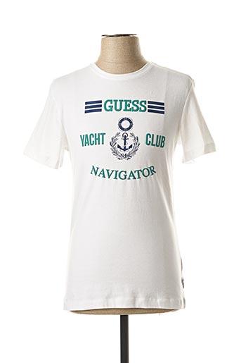 T-shirt manches courtes blanc GUESS pour homme