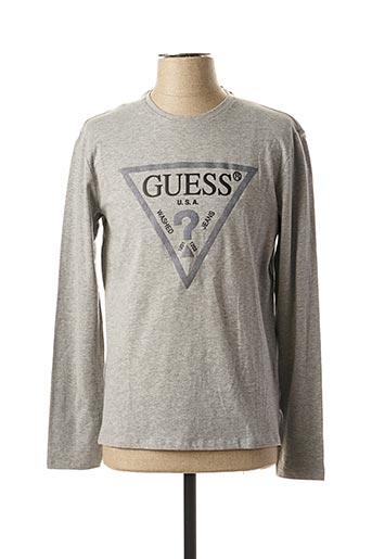 T-shirt manches longues gris GUESS pour homme