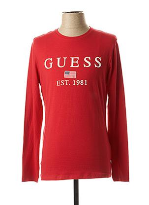 T-shirt manches longues rouge GUESS pour homme