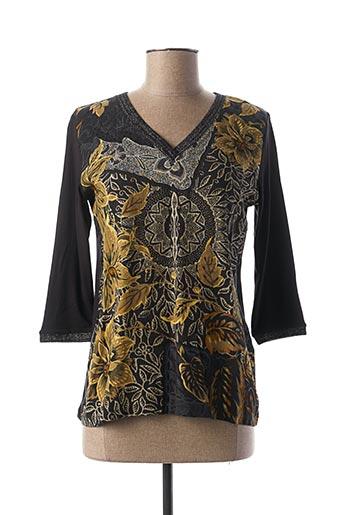 T-shirt manches longues noir DESIGN LETTERS pour femme