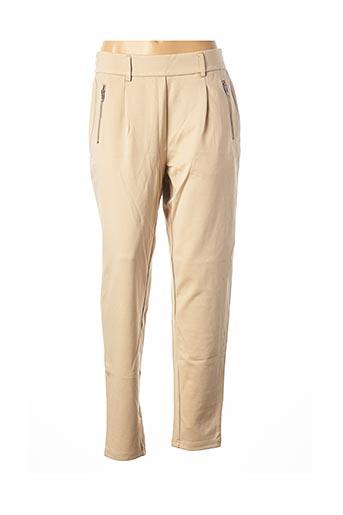 Pantalon casual beige MSCH COPENHAGEN pour femme