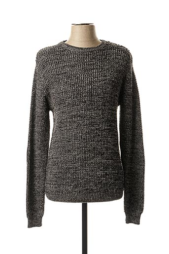 Pull col rond gris BACK LIGHT pour homme