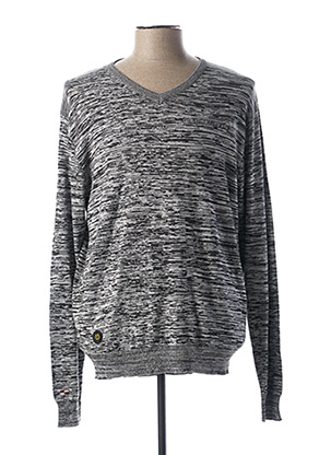 Pull col V gris OAKS VALLEY pour homme