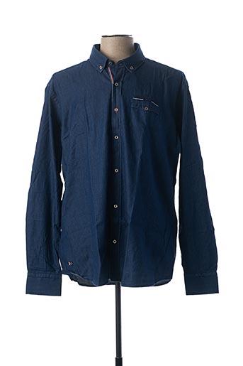 Chemise manches longues bleu BLACK WELLIS pour homme