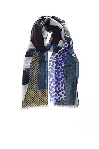 Foulard bleu E.SAVALL pour femme