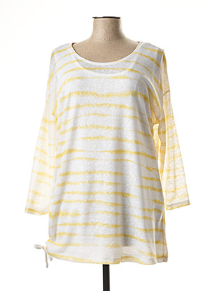 Pull col rond jaune MARBLE pour femme