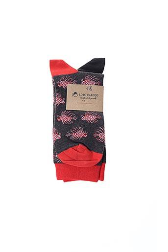 Chaussettes rouge LOLO CAROLO pour homme