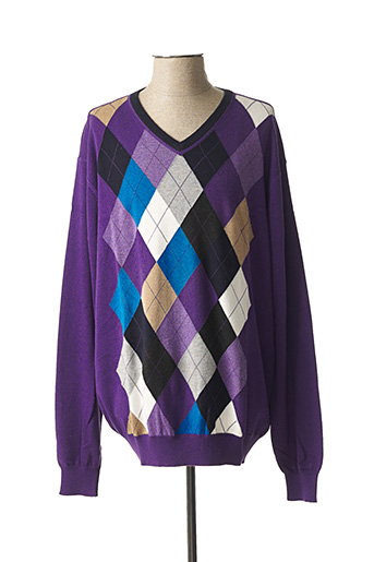 Pull col V violet FELLOWS pour homme