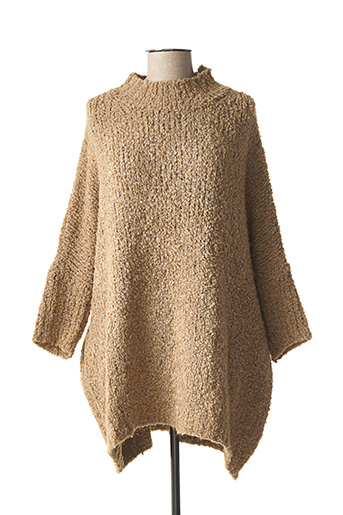 Pull col cheminée beige BANDITAS FROM MARSEILLE pour femme