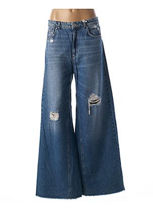 Jeans coupe large bleu BSB pour femme