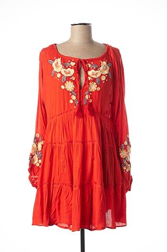 Robe courte orange FREE PEOPLE pour femme