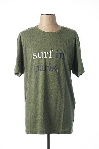 T-shirt manches courtes vert CUISSE DE GRENOUILLE pour homme