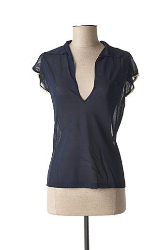 Polo manches courtes bleu STEFAN GREEN pour femme