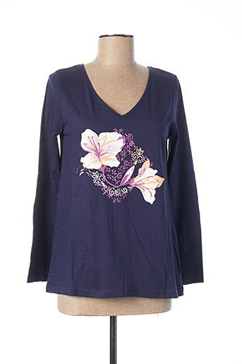 T-shirt manches longues bleu BLANCHEPORTE pour femme