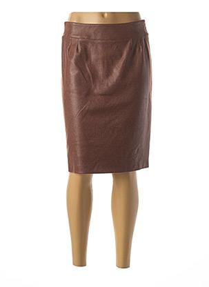 Jupe mi-longue marron GEVANA pour femme
