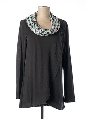 Pull col châle vert MALOKA pour femme
