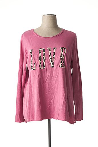 T-shirt manches longues rose C'MELODIE pour femme