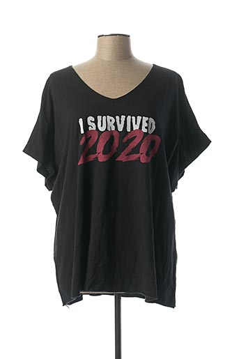 T-shirt manches courtes noir C'MELODIE pour femme
