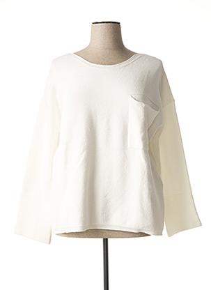 Pull col rond blanc EVA KAYAN pour femme
