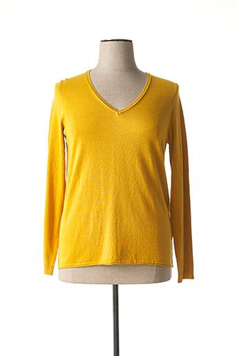 Pull col V jaune EDC pour femme