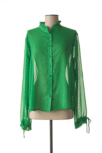 Chemisier manches longues vert ICHI pour femme