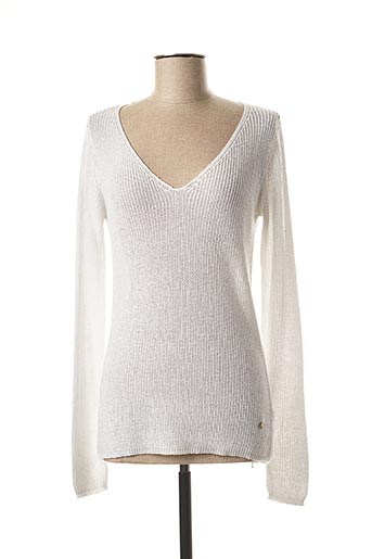 Pull col V blanc DEELUXE pour femme