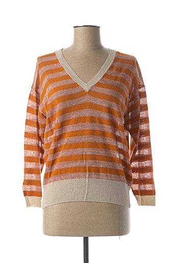 Pull col V orange CKS pour femme
