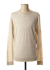 Pull col rond beige SELECTED pour homme seconde vue