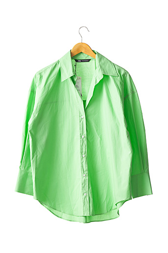 Chemisier manches longues vert ZARA pour femme