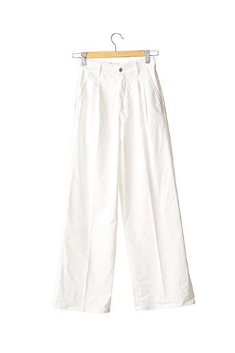 Pantalon casual blanc BERSHKA pour femme