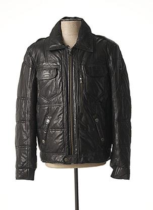 Veste en cuir noir REDSKINS pour homme