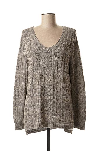 Pull col V gris CAPUCCINO pour femme