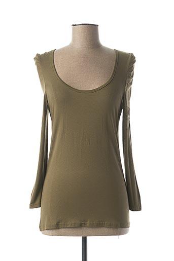 T-shirt manches longues vert VIE NOCTURNE pour femme