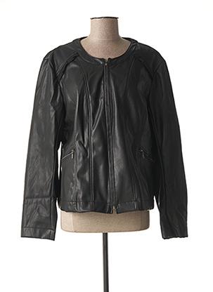 Veste simili cuir noir ZELI pour femme