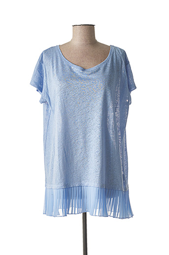 T-shirt manches courtes bleu LA FEE MARABOUTEE pour femme