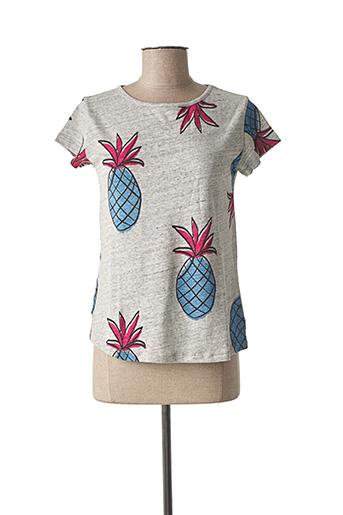 T-shirt manches courtes gris LA FEE MARABOUTEE pour femme