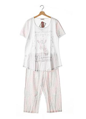Pyjashort blanc MASSANA pour femme
