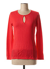 Pull col rond rouge MARBLE pour femme seconde vue