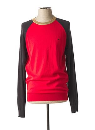 Pull col rond rouge WRANGLER pour homme