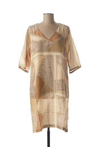Robe mi-longue beige KONTESSA pour femme