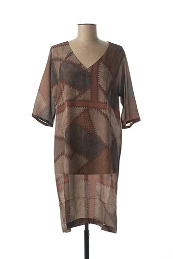 Robe mi-longue marron KONTESSA pour femme