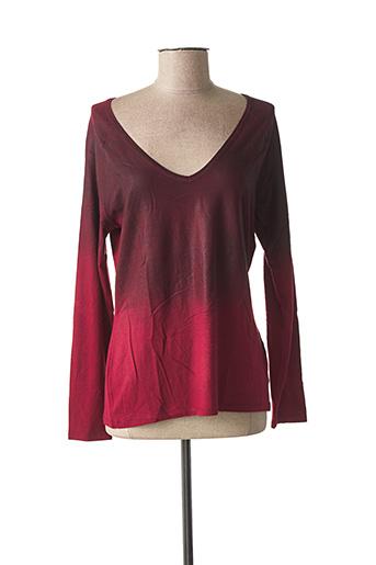 T-shirt manches longues rouge LAUREN VIDAL pour femme